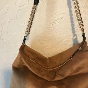 Calvin Klein Bags - Calvin Klein Faux Suede Brown Slouchy Hobo with Ch